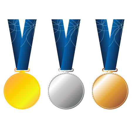 Set of gold silver and bronze medals with blue ribbon