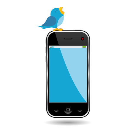 Bird twitting on top of a cell phone over white