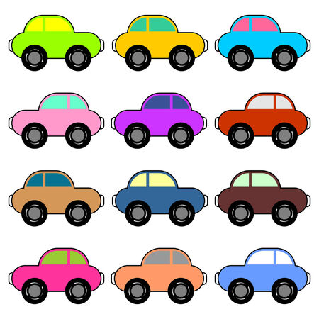Funny cars with different colors over white background Stock Vector - 6563584