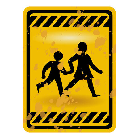 Grunge children playing warning sign isolated over white Stock Vector - 6634296
