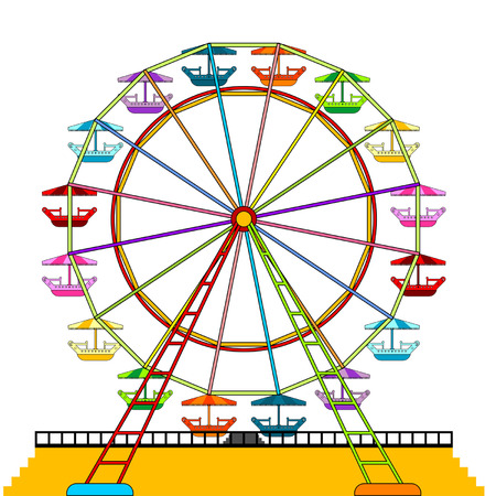 amusement: Colorful ferris wheel isolated over white background