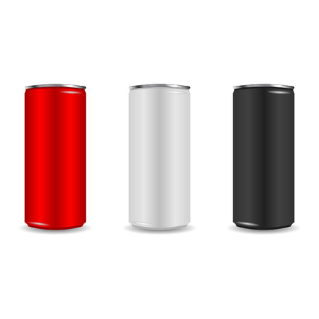 drink can: Colorful aliminum drink cans over white background Illustration
