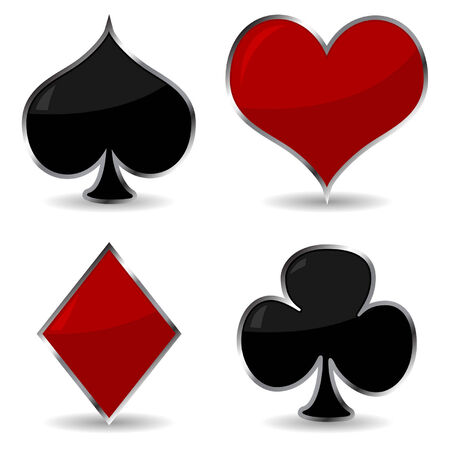Playing cards symbols with metallic frame and shadow Vector