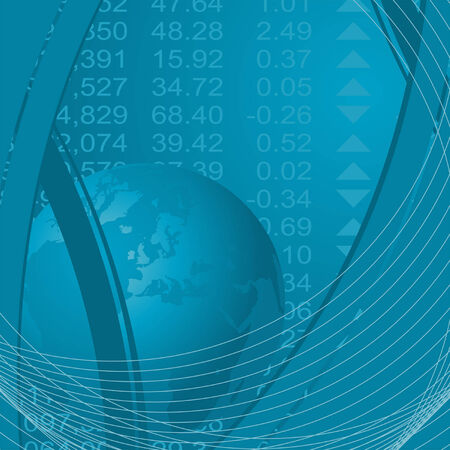Abstract theme with globe and stock market financial figures Vector