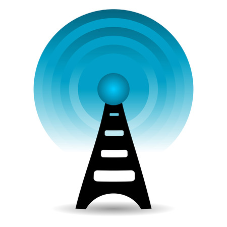 Antenna sending out signals over white background Illustration