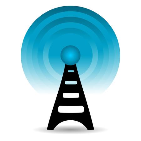 communicatie: Antenne signalen afgeven op witte achtergrond