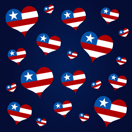 Stars and stripes hearts. Fourth of July celebration theme. Vector