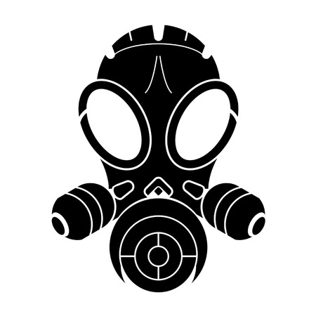 Gas mask stencil isolated over white background Illustration