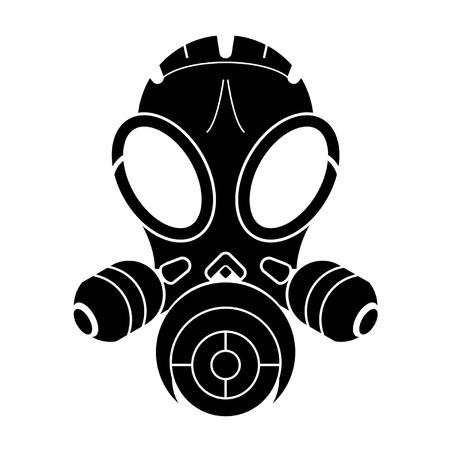 gasmasker: Gas masker stencil geïsoleerd op witte achtergrond Stock Illustratie