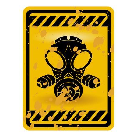 biohazard: Panneau de signalisation de masque � gaz de grunge isol� sur blanc