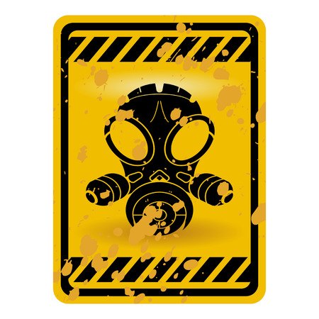 riesgo quimico: Se�al de advertencia de la m�scara de gas grunge aislados sobre blanco  Vectores