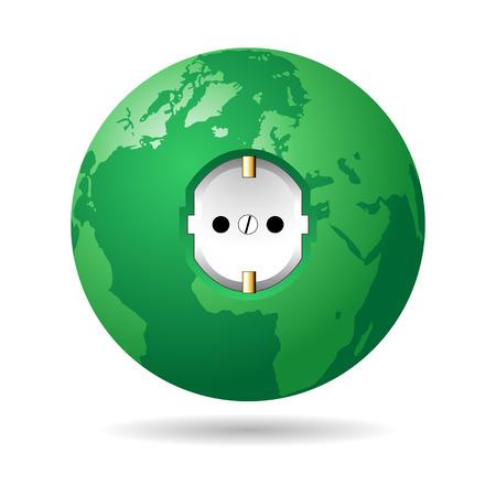 electric plug: Spina elettrica europea sul pianeta verde over white