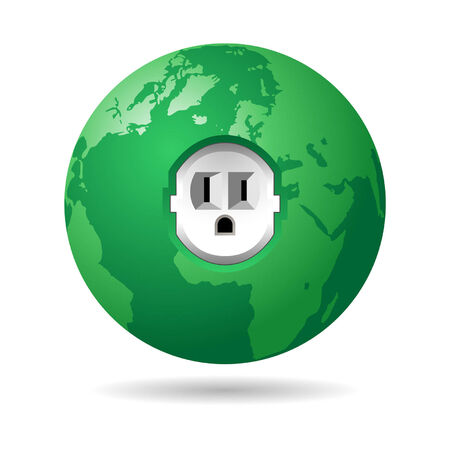 disconnected: American electric plug on green planet over white