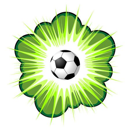 futbol soccer dibujos: Área de rótulo verde con balón de fútbol sobre blanco