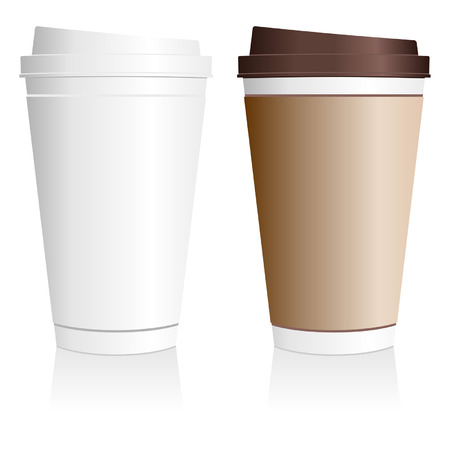 disposable: Plastic coffee cup templates over white background