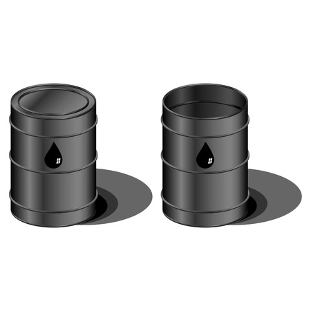 Open and closed barrels with oil drop symbol Stock Vector - 7293710