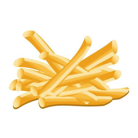 crisp: French fries isolated over white background Illustration