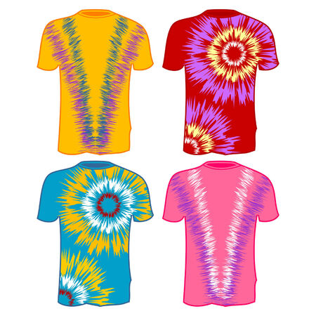 Tie Dye T-Shirts with different colors over white Vector