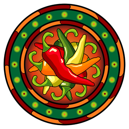 mexican culture: Mexican hot chili peppers logo over white background