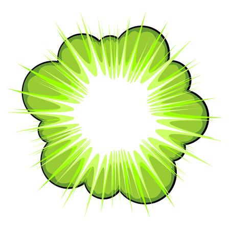 historietas: Área verde llamada explosivos para texto sobre fondo blanco