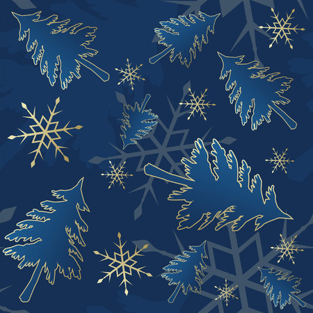 Blue seamless Christmas pattern with trees and snow Stock Vector - 7501519