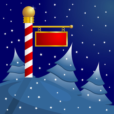North Pole blank sign to insert your text Illustration