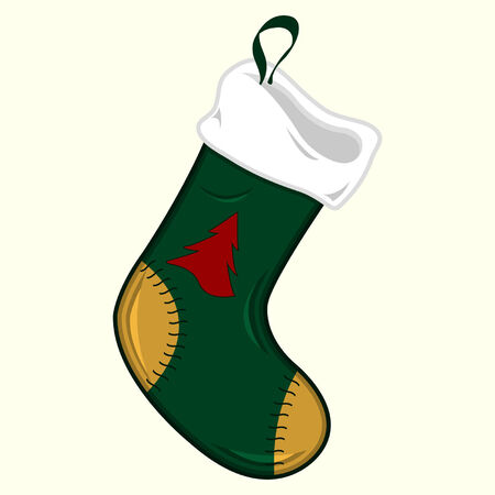 Ornamented Christmas stocking over pale yellow background Stock Vector - 7524482