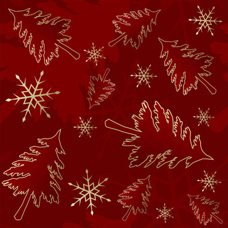 Red seamless Christmas pattern with trees and snow Stock Vector - 7552902