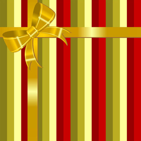 Christmas striped square background with golden bow Stock Vector - 7585047