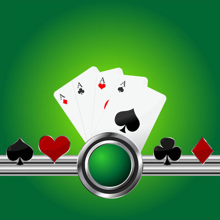 Poker theme square background with four aces Vector