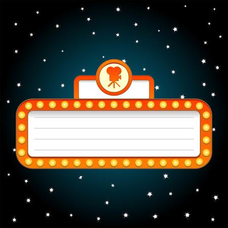 Fondo de tema de teatro de película en el cielo estrellado  Ilustración de vector