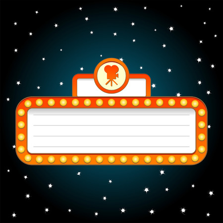 Movie theatre theme background over starry sky Illustration