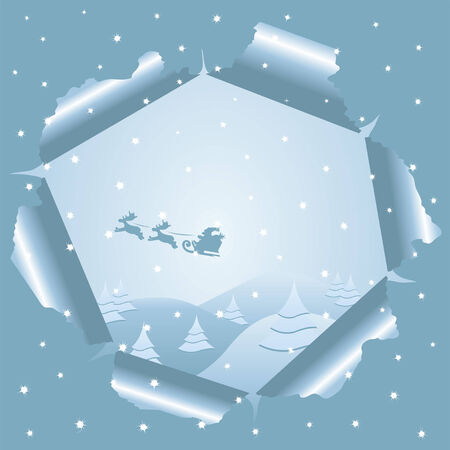 Santa riding his sledge seen through ripped paper Stock Vector - 7653453