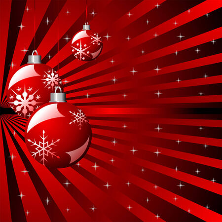 Christmas striped background with balls and stars Stock Vector - 7653458