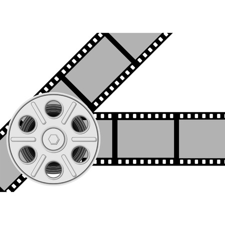 movie film: Movie background with reel and film over white Illustration