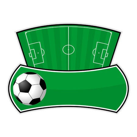 Soccer field shield isolated over white background