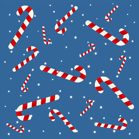Candy cane background with snow flakes over blue Stock Vector - 7747953