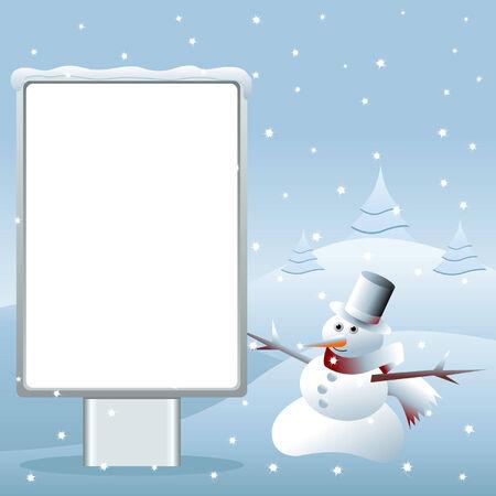 Snowman near a blank advertisement outdoor Stock Vector - 7747954