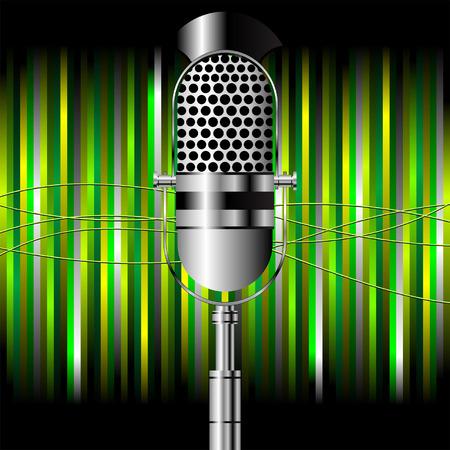 microfono radio: Micr�fono de radio Vintage sobre fondo cuadrado rayas