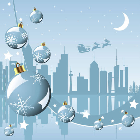 Christmas in the city background with Santa Claus Vector