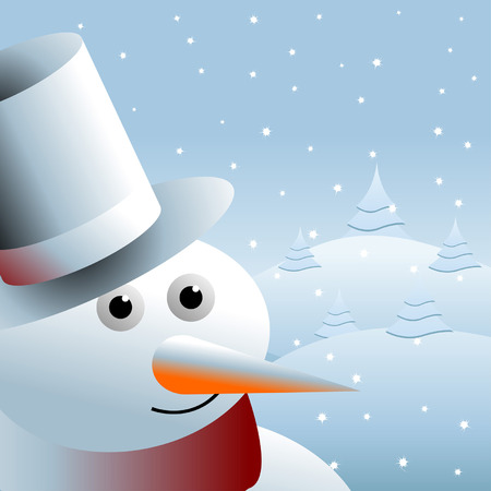 Snowman close up over a snow field Stock Vector - 7780290
