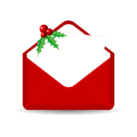 Red envelope with blank sheet and holy over white Stock Vector - 7885340