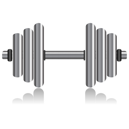 weightlifting: Silver dumbbell isolated over white square background