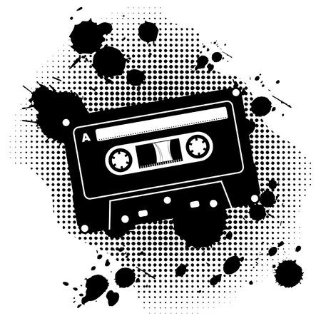 cintas: Cassette de audio de grunge negro sobre fondo blanco