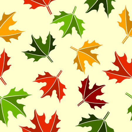 Seamless maple leaves pattern over pale yellow Stock Vector - 7981201