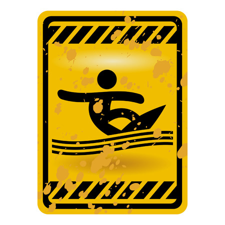 high sea: Grunge surf area warning sign isolated over white