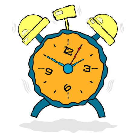 ringing: Alarm clock cartoon ringing over white background