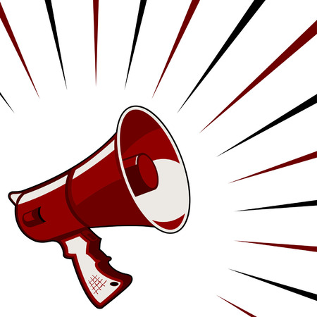 Rode megafoon aankondiging over sterrenrijke vierkante achtergrond
