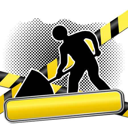 Men at work sign and warning tapes over halftone pattern Stock Vector - 8130844