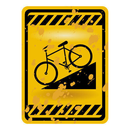 Downhill bicycle sign isolated over white Stock Vector - 8130846